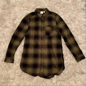 Nordstrom BP flannel tunic  in olive green